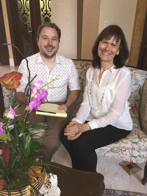 CN1.Curator, Villager Brett Gillis and Villager President Mary E. Burke review details of tour. (2)